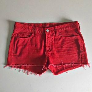 {J Brand} 'The Cut-Off' Lipstick Red Jean Shorts